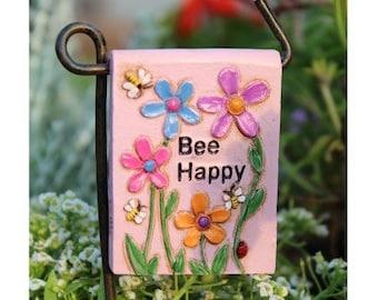 Bee Happy Sign for Fairy Garden or Miniature Gardening