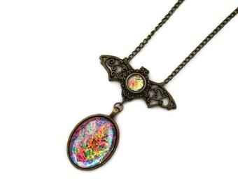 Bat Pendant, Glass Handmade Harlequin Opalite, Victorian Necklace, Art Nouveau Pendant, Renaissance Necklace