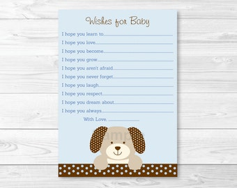 Cute Puppy Wishes for Baby Cards / Puppy Baby Shower / Baby Blue / Baby Boy Shower / Baby Shower Keepsake / INSTANT DOWNLOAD A135