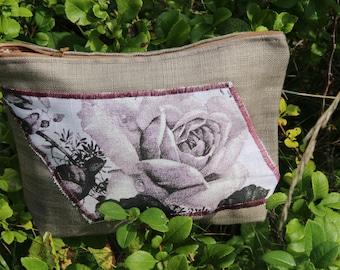 "Original Linen Cosmetic Storage ""Vintage Style"" - Linen Cosmetic Bag"