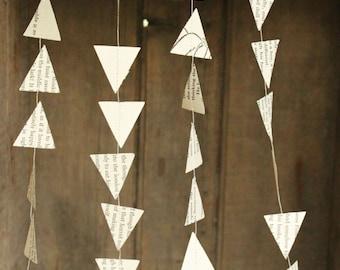 Paper Garland, Arrow Garland, Arrow Decoration, Triangle Garland, Book Page Garland, Triangle Bunting, Arrows Bunting, 10 feet long