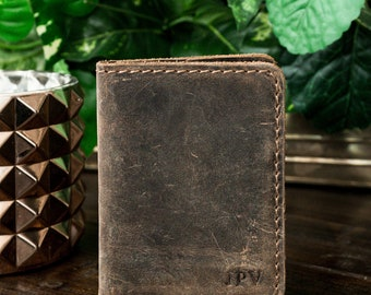 Antique Brown Minimalist Wallet, Distressed Leather Slim Bifold Wallet, Personalized Leather Wallet, Perfect Gift - Knox | Antique Brown