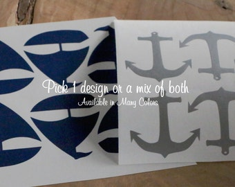 20 Anchor or Sail Boat or 10 of each vinyl stickers. Party decoration, cups, gift bags, nautical, wedding shower,  Bin-B-172-173