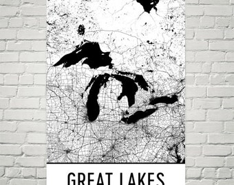 Great Lakes Art, Great Lakes Map, Great Lakes Print, Great Lakes Poster, Lake Map, Lake House Art, Great Lakes USA, America Map, Lake Art