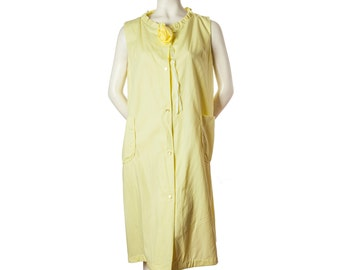 Vintage 1950s housecoat -- yellow button down robe with pockets and rose at neckline -- 50s / 60s nightgown -- size small / medium / large
