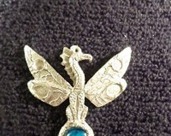 New.. Pewter Glass casting pendant..{ Dragonfly }
