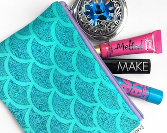 Holographic Aqua Mermaid Scale Makeup / Pencil Bag
