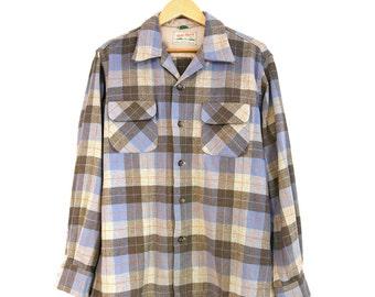 Sz. M/L | Field and Stream Vintage Blue & Gray Wool Button-up Longsleeve Plaid Shirt Sz. L 60s - 70s Flannel