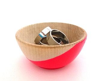 Neon pink wood dish, jewelry dish, ring cup, mini jewelry holder, painted wood dish, dipped wood, pinch bowl, tiny wood bowl