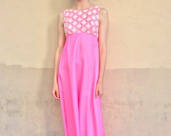 1960's Electric Pink Floral Gown