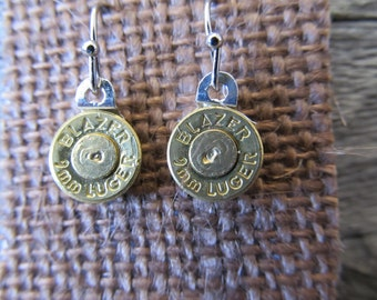 9mm Dangle Earrings, with spent primer  - Ready to Ship Today