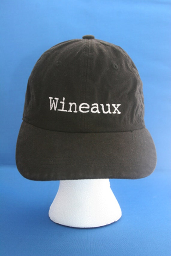 Wineaux- Ball Cap (Black with White Stitching)