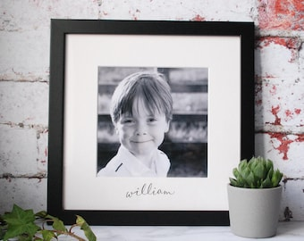Black and White Picture Frame - New Baby Gift - Personalised Family Frame - Christening Gift - Valentines Gift - Wedding Gift - Handwritten