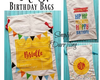 Personalized Birthday Bag, Birthday Sack, Personalized Reusable Birthday Gift Bag
