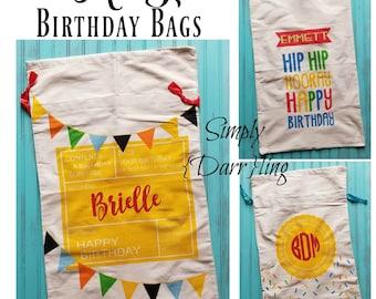 Personalized Birthday Bag, Birthday Sack, Personalized Reusable Birthday Gift Bag