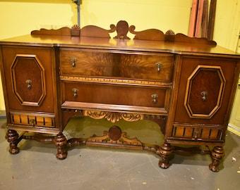 Antique Vintage Walnut Dining Room Buffet Sideboard Server
