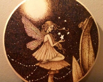 Wood Pyrography Fairy Artwork