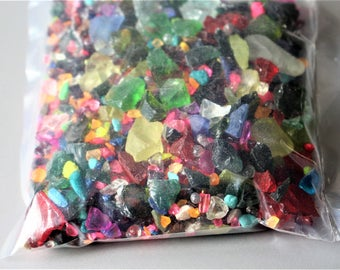 Terrarium supplies-1 pound bags-Confetti glass & stone pieces-Small Glass Chips-Assorted Fairy Garden Paths-Recycled Glass