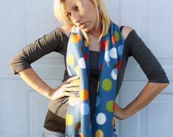 Scarf,  fleece no sew scarf, neck warmer in confetti print
