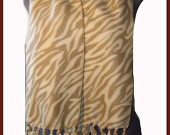Zebra Fleece Scarf, Wild Animal Muffler, Lolita/Punk Bufanda,  Creme
