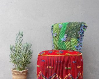 Bohemian Vanity Chair Embroidered Flower Power Vanity Stool Boho Furniture Vintage Embroidery Crocheted Flowers and Leaes