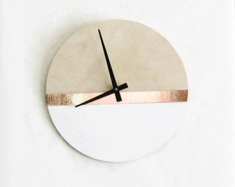 Large Wall Clock, Modern Wood Clock,  Home Decor, White and Copper, Housewares, Home and Living, Unique Wall Clock
