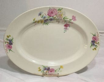 Chatham Potters Serving Platter Pink and Purple yellow Flowers