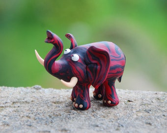 Elephant Sculpture, totem elephant figurine, marbled good luck elephant, red black lucky elephant, safari animal figure, sculpture art decor