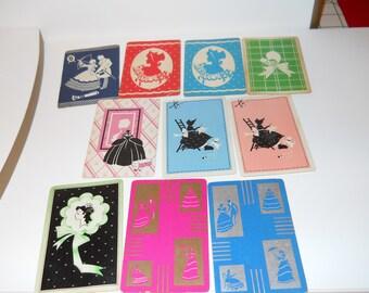 Lot 9 Vintage linen playing swap cards Ladies Bonnet Silhouette