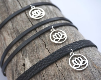 Silver Lotus Flower Choker Necklace - Black Leather Lotus Choker - Silver Lotus Charm Choker -Yoga Gift - Lotus Flower Jewelry - Zen Jewelry