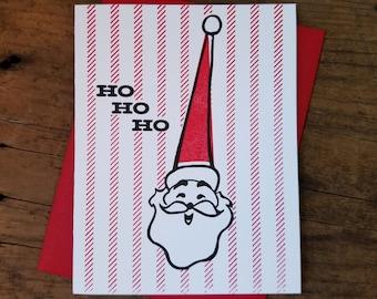 Ho Ho Ho Santa Letterpress Card