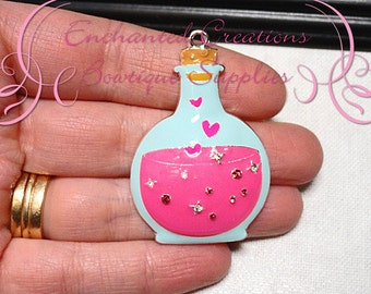 48mm Love Potion Rhinestone Pendant, Valentine's Day, Zipper Pull, Keychain