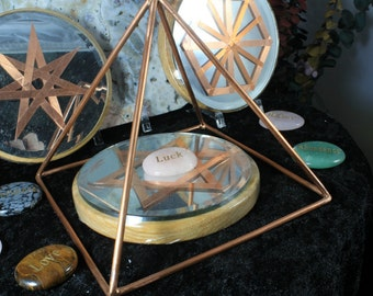 "6"" Copper Pyramid Collection with Mirror/Copper/Wood 5"" grid base and Word Stone"