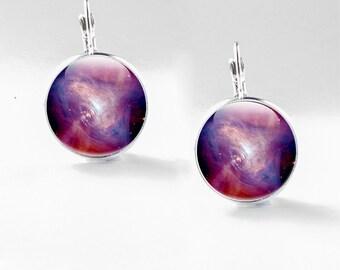 Space earrings, Science Glass Earrings - Galaxy Earrings - Space Drop Earrings - Purple Glass Drop Earrings (earrings 66)