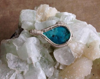 Arizona Turquoise Sterling Silver Wire Wrapped Pendant