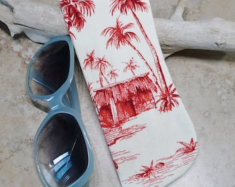 Eyeglass Case, Sunglasses Case, Tropical Beach Scene Fabric Case, Eyewear Case, Red & Ivory, Island Style, Beach, Eyewear Case