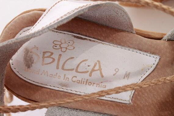9 Boho 9 Leather Size Retro US Summer Platform UK 7 1990's Chunky Sandals Lace 39 EUR Up 40 Wedge Cutout Women's White Vintage Sbicca wnqAZUxfp