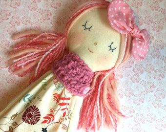 Beautiful Doll, ragdoll, soft doll, heirloom pink doll