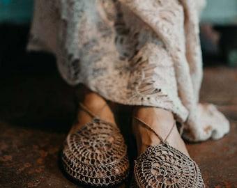 Light Brown - Crochet Shoes made with Hemp Yarn