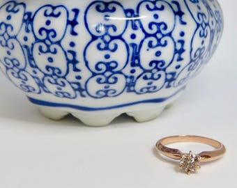 14 Karat Rose Gold Round Brilliant Cut Half Carat Champagne Diamond Solitaire Ring