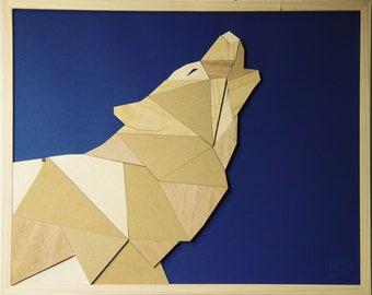 Geometric wood art - Wolf