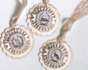 Set of THREE  Vintage inspired Victorian EASTER Gift Tags Ornaments Bunny Rabbits