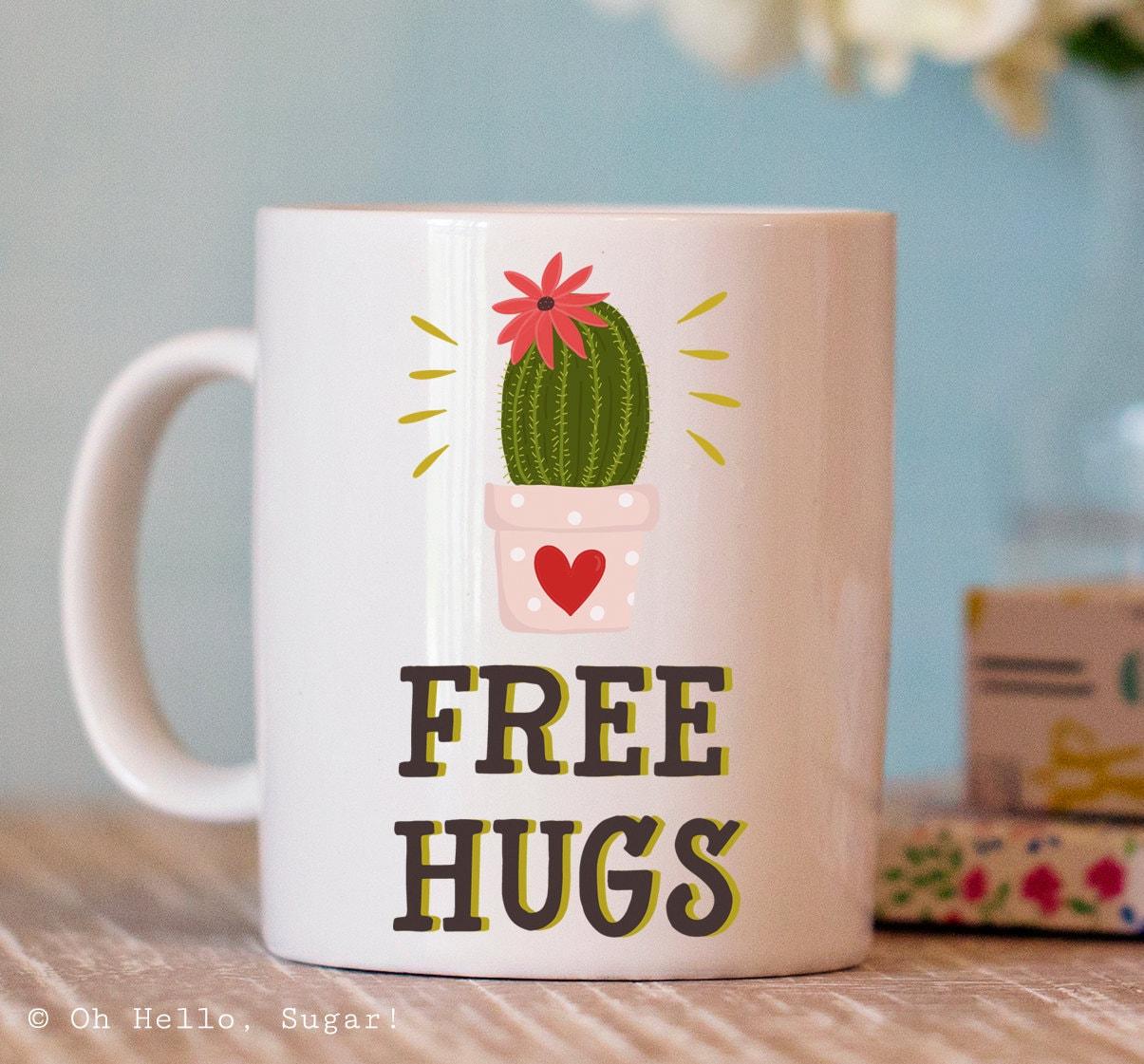 Funny Coffee Mug Free Hugs Cactus Mug Unique Mugs Cute