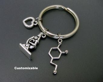 Science Keychain / Chemist Keychain / Microscope Keychain / Dopamine Keychain / Laboratory Keychain / Microbiology Keychain / Key Ring