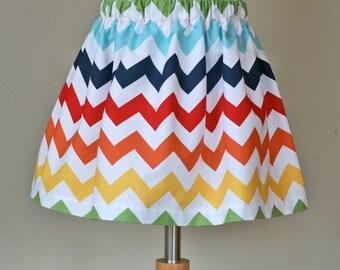 Rainbow Multi Color Chevron Zig Zag Skirt -  for infant toddler girls - handmade by Shop the Wild Hare