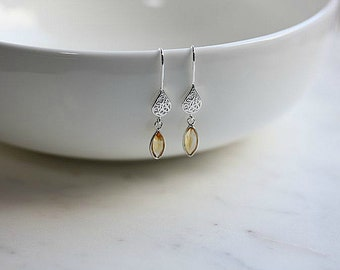 Citrine  Earrings in Sterling Silver - Silver Citrine earrings - Silver Filigree Drop Earrings - November Birthstone - Gift for her