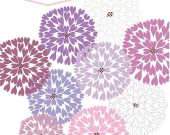 ON SALE instant download Digital clip art flowers, heart firework flowers 8 , purple flowers clip art