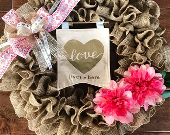 Everyday Burlap Wreath - Burlap Wreath - Spring Burlap Wreath - Valentines Wreath - Burlap Wreath for Valentines