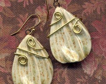 Gold Yellow and Pale Green Porcelain Earrings, Handmade Clay earrings, 18 K Gold Filled Floral Earrings, Ceramic Petals Earrings