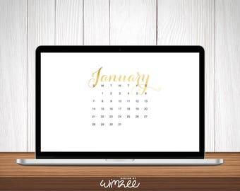 2018 Desktop Wallpaper Calendar Digital Download | Monthly Foil Calendar